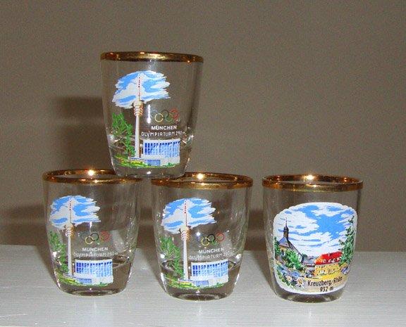 Vintage Souvenir Shot Glass - Munich Kreuzberg Rhon Germany Set of 4 - 1972 Olympics