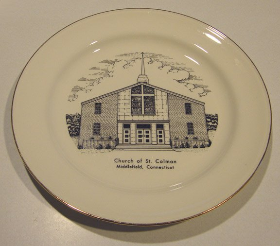 Vintage 1960s Church of St. Colman CT Commemorative Plate