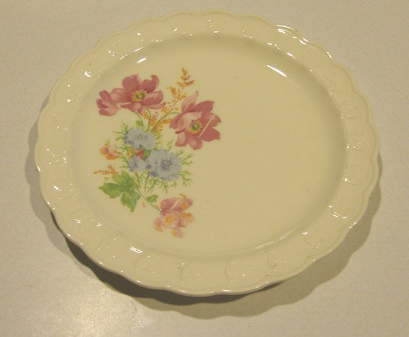 Vintage 1930's TS&T Pink Blue Floral Spray Garland Shape Bread Plate - Set of 2