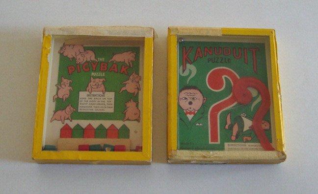 Vintage R. Journet Series of Popular Puzzles Kanuduit Puzzle & The Pigybak Puzzle