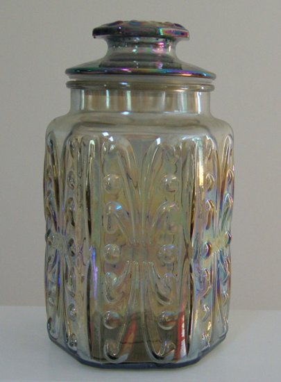 Vintage Imperial Glass Atterbury Scroll Carnival Glass Hexagon Jar Canister with Lid