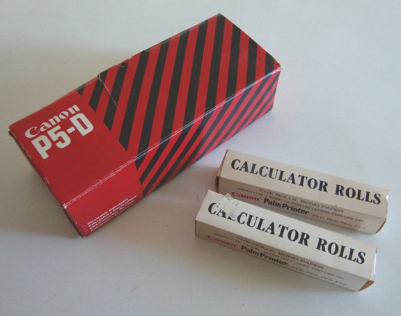 Vintage Canon Calculator P5-D Palm Printer MIB with 2 Boxes of Paper Rolls