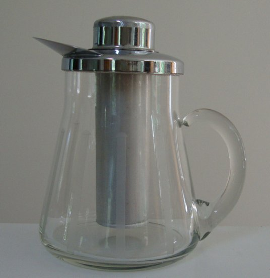 Vintage 1950s Chrome Lid Etched Chill It Martini Pitcher Server