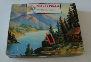 Vintage 1961 Tuco Interlocking Tripl-Thick Wood Like Puzzle #4980 A - A Mountain Retreat