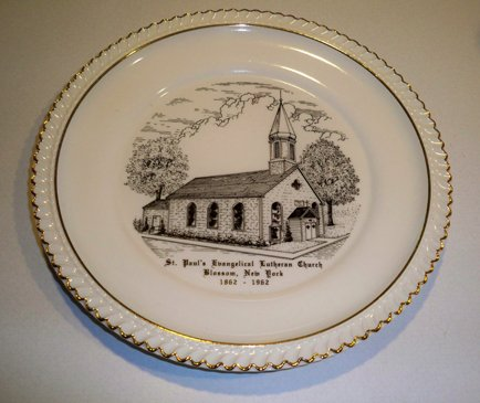 Vintage 1962 St. Paul's Evangelical Lutheran Church Blossom, NY Centennial Commemorative Plate