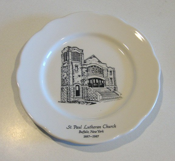 Vintage Buffalo China 1987 St. Paul's Lutheran Church Buffalo, NY 100th Anniversary Plate