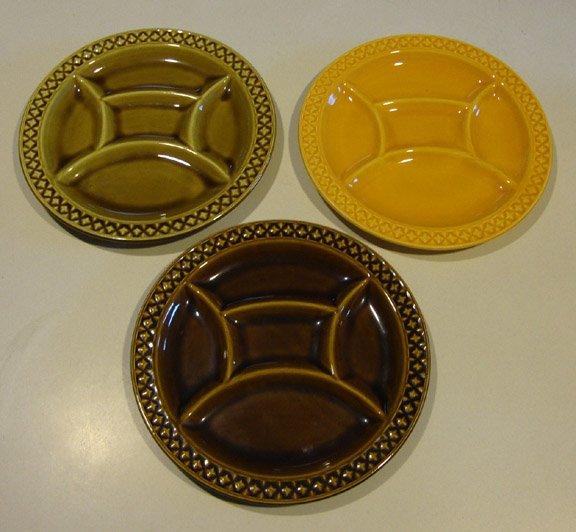 Vintage Fondue Plate Digoin Sarreguemines France - Set of 3