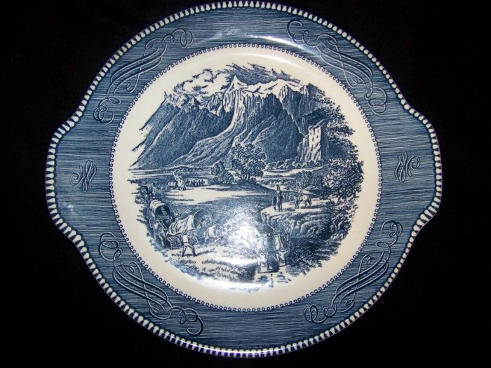 """Royal China Currier & Ives """"The Rocky Mountains"""" Cake Plate - Blue Transferware"""