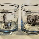 Vintage 1980s Buffalo On Track Metro Rail Old Fashioned Glass Tumbler - Set of 2
