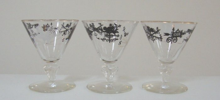 Vintage 1950s Weathervane Roosters Cocktail or Dessert Glass - Set of 3