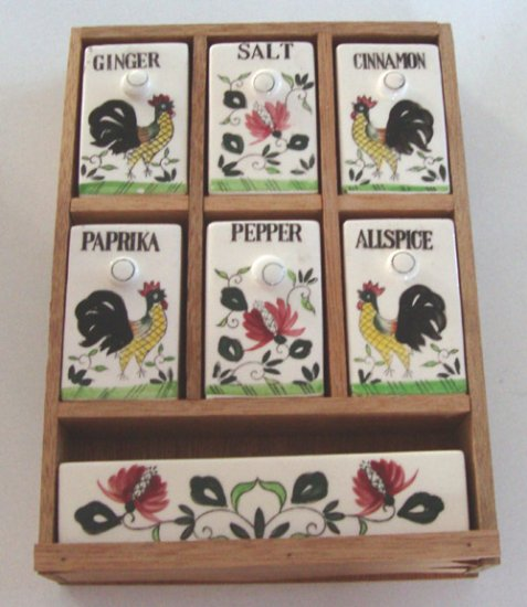 Vintage Royal Sealy Japan Rooster Ceramic / Wood Spice Rack