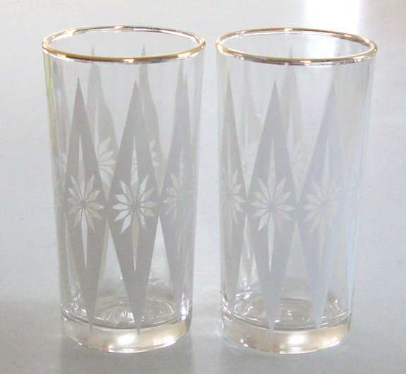 Vintage Eames Era White Diamond Starburst Design Glass Tumblers - Set of 8