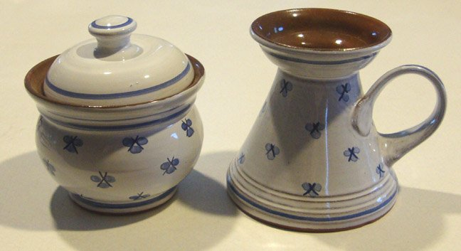 Prague Czech Republic Handthrown Blue & White Creamer and Sugar Bowl with Lid