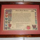 Vintage 1990 Historical Research Center - Anderson Family Name History Document with Frame