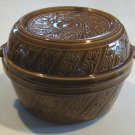Vintage Embossed Brown Stoneware Covered Casserole Dish USA