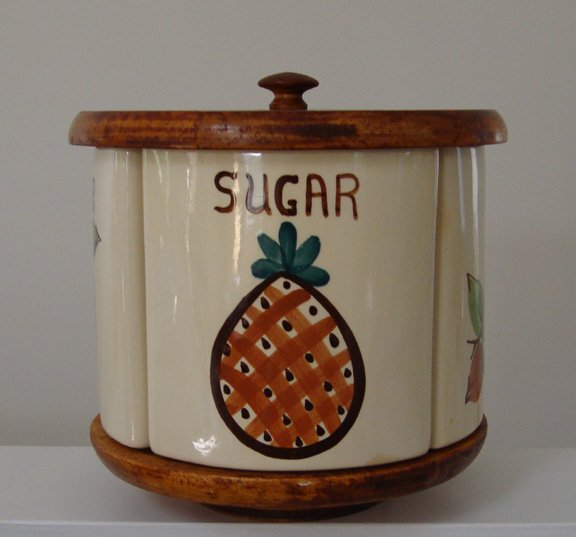 VintageLazySusanCeramic Canister SetCOFFEETEASUGARFLOUR sold 11.7.10