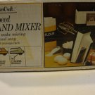Vintage 1980s Sears Counter Craft 5-Speed Hand Mixette Mixer Almond w/ Wall Rack