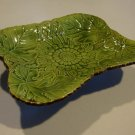 Vintage Embossed Leaf Floral Ceramic Footed Candy Dish