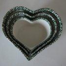 Vintage ABC Distributing Spongeware Ceramic Heart Shaped Nesting Mold - Set of 3