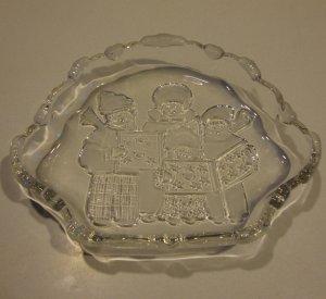 Vintage Mikasa Crystal Christmas Carolers Sweet Dish