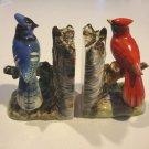 Vintage UCAGCO Cardinal & Blue Jay Ceramic Bookends MIJ