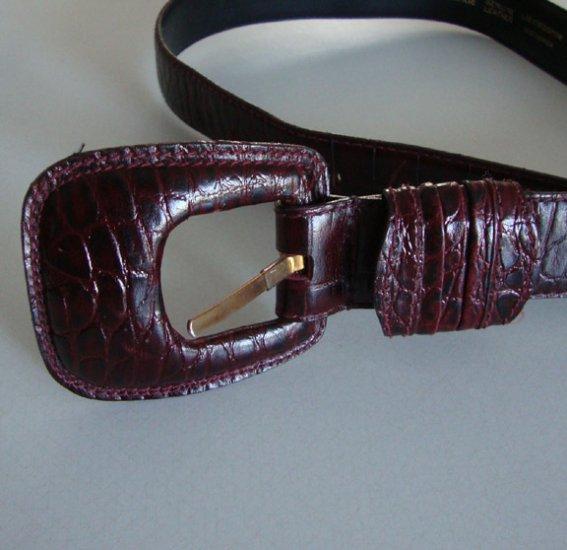 Liz Claiborne Faux Crocodile 100% Genuine Leather Belt Large