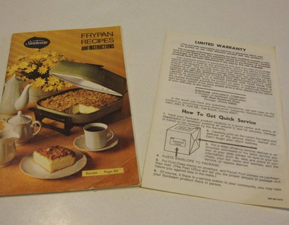 Vintage 1970s Sunbeam Frypan Recipes Instruction Manual Booklet