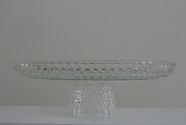 "Indiana Glass Co. 12"" Crystal Diamond Point Cake Stand"