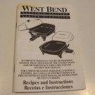 Vintage 1994 West Bend Electric Skillet Recipes Instruction Manual Booklet