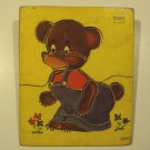 Vintage 1950s Gong Bell Lithograph Wood Puzzle - Teddy
