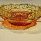 Vintage Jeannette Glass AMBERINA AZTEC ROSE BOWL