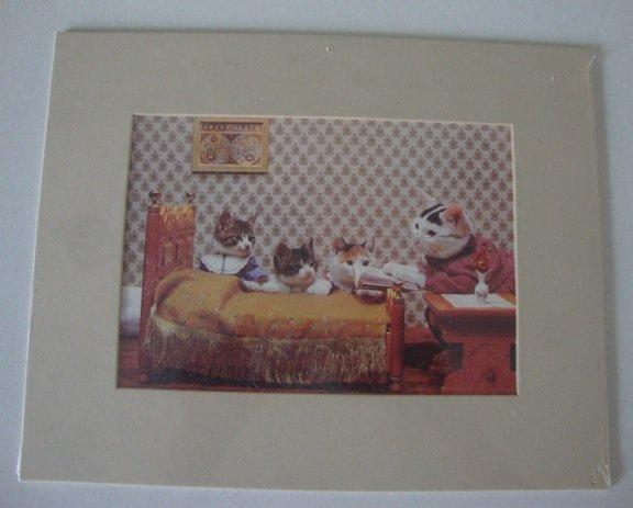 Vintage 1983 Perlorian Satoru Tsuda Bedtime Story Cats Card w/ Mat  - Local Cat Rescue Benefit