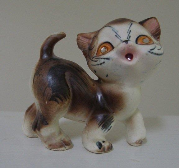 Vintage 1950s Cat Figurine Rhinestone Sparkle Eyes