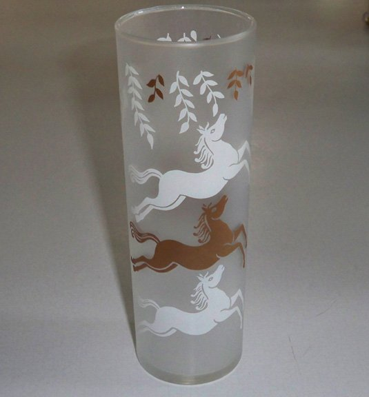 Vintage 1956 Libbey Cavalcade Leaping HORSE Frosted Glass Tumbler