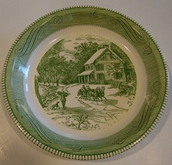 Vintage Royal China Jeannette Green Currier & Ives Pie Plate Baker Scrolls