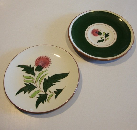 Vintage Stangl Thistle Bread Plate and Saucer (no cup)