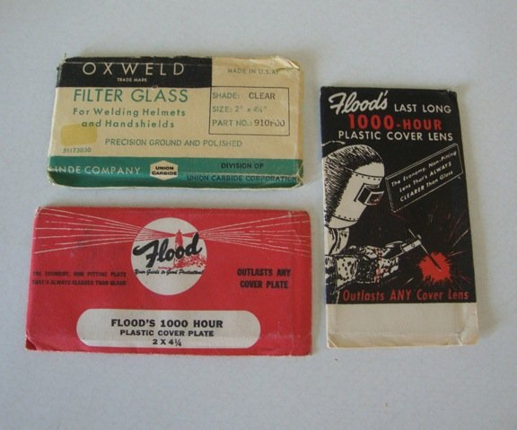 Vintage Welder Filter Glass & Cover Plates - set of 3