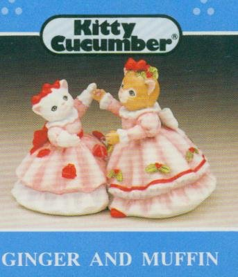 Vintage 1994 Kitty Cucumber Figurines Ginger & Muffin - Ten Lives Club Cat Adoption Group Benefit