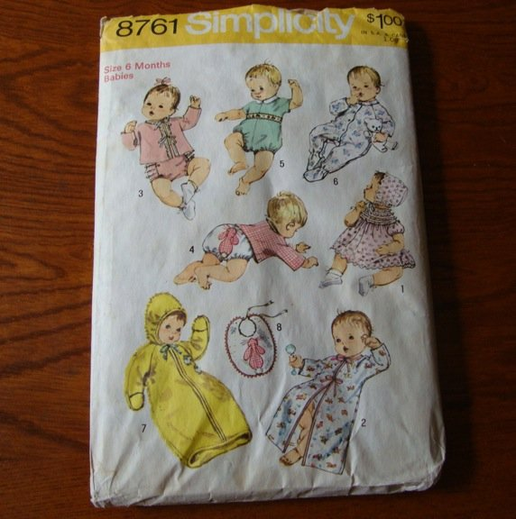 Vintage 1974 Simplicity 8761 Sewing Pattern Newborn Baby Infant Layette Pattern