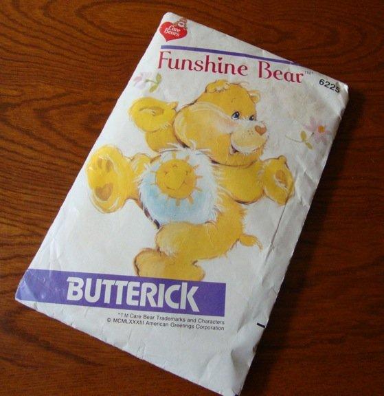 Vintage 1983 Butterick 6225 Sewing Pattern Funshine Care Bear