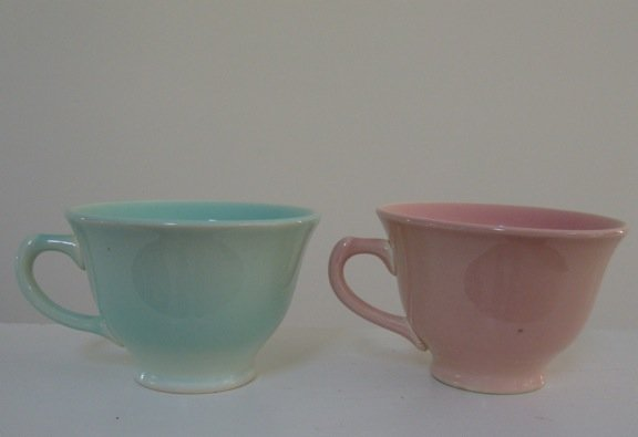 Vintage Taylor Smith and Taylor LuRay Pink Cup & Blue Cup (no saucers)