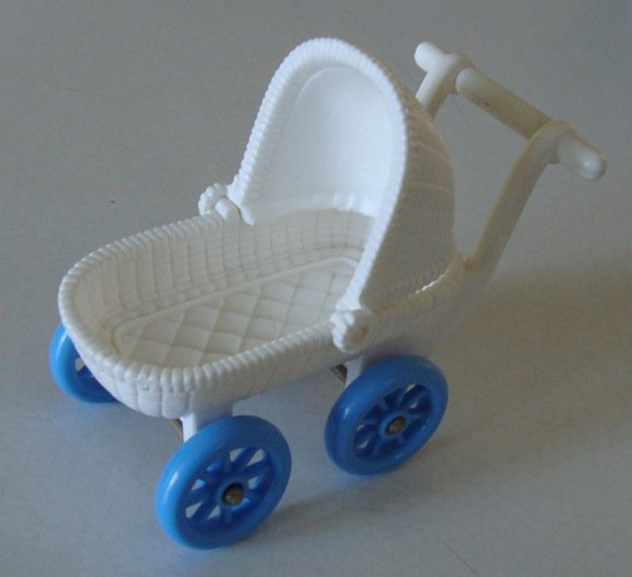 Vintage Fisher Price Loving Family Dollhouse White BABY BUGGY