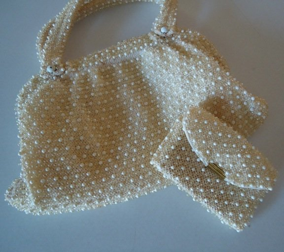 Vintage White Beaded Handbag Purse with Matching Coin Purse