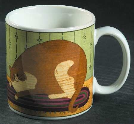 Vintage Sakura Warren Kimble Fat Cat & Cliff Mugs Set of 2