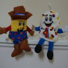 Vintage 1999 Snackin Friends Twinkie the Kid  & Freddy Fresh Guy Advertising Bean Bag Toys