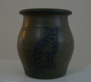 Vintage 1992 Rowe Pottery Cat Vase