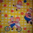 Vintage Raggedy Ann & Andy Twin Fitted Bed Sheet & Pillow Case