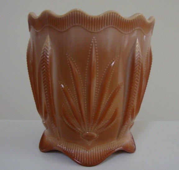 Fenton Chocolate Cactus Pattern Cracker Jar - No Lid