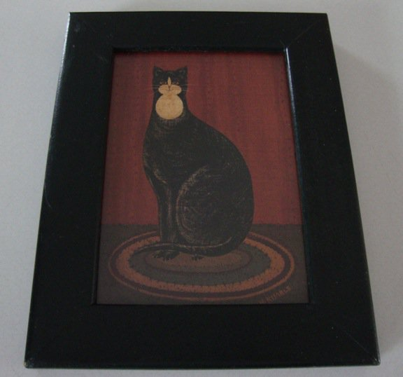 Warren Kimble Black Cat with Bib with Frame
