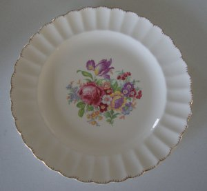 Vintage Leigh Ware Floral / Gold Luncheon Plate - Set of 4